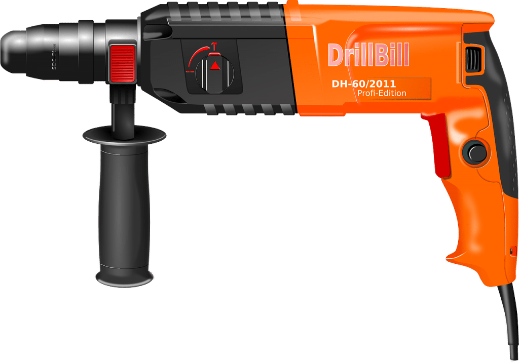 Orange electric power drill
